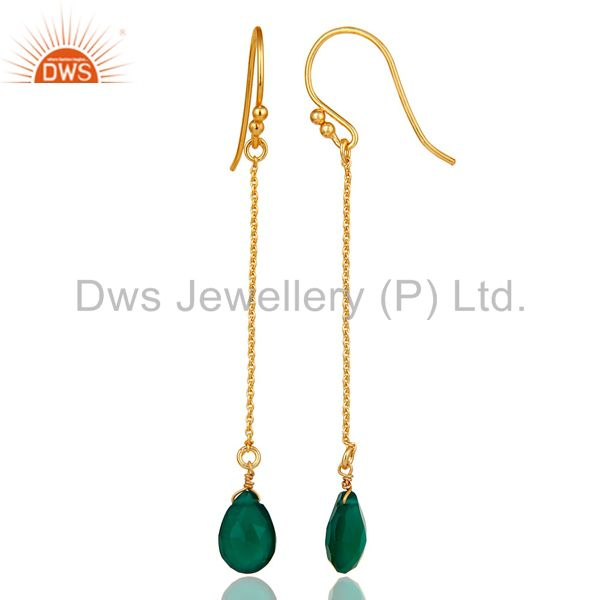 Designers 18k Gold Plated 925 Silver Faceted Green Onyx Gemstone Drop Link Chain Earrings