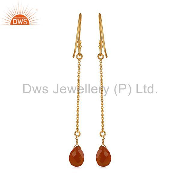 Suppliers Red Onyx Gemstone Handmade 925 Silver Chain Gold Plated Earrings