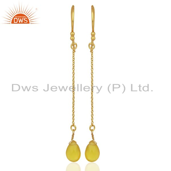 Suppliers Yellow Chalcedony Drop 14K Yellow Gold Plated 925 Sterling Silver Earrings