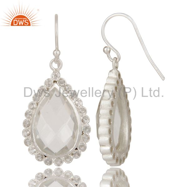Designers Solid 925 Sterling Silver Crystal Quartz & White Topaz Teardrops Earrings
