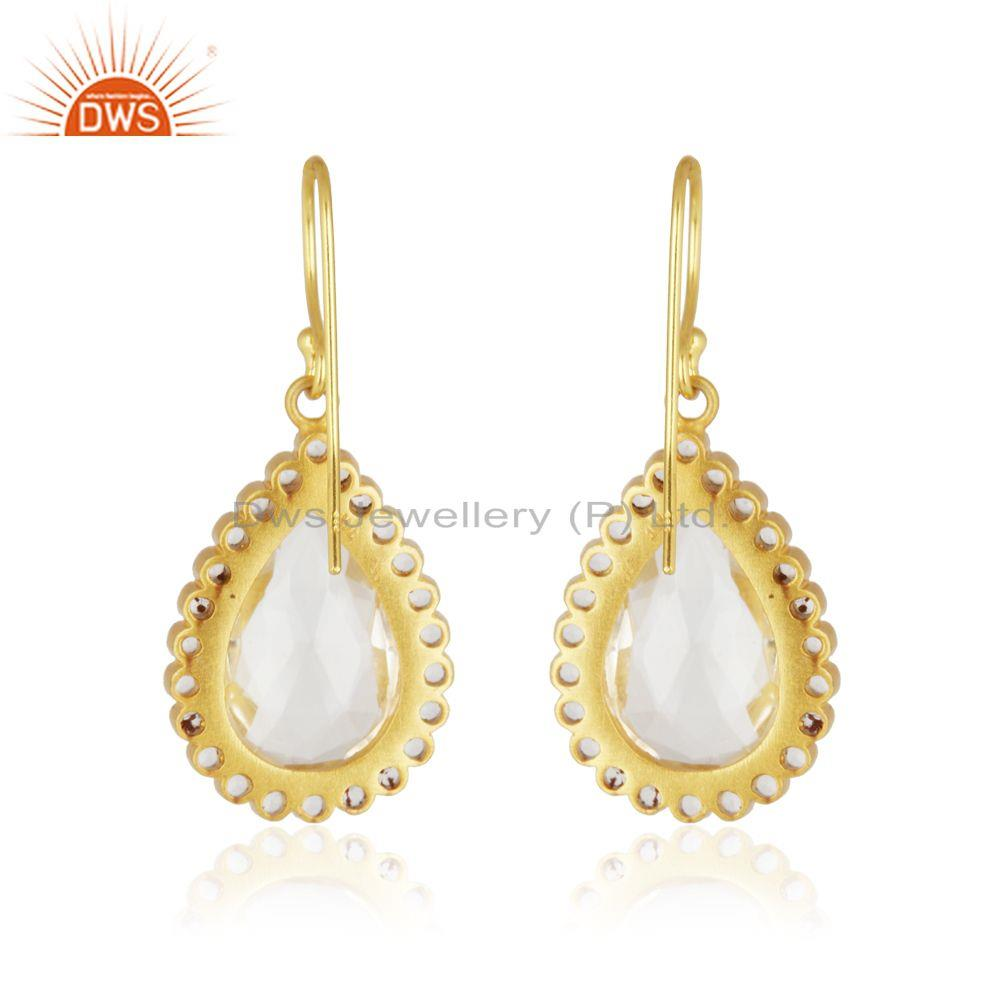Suppliers 18K Yellow Gold Plated Sterling Silver White Topaz & Crystal Quartz Drop Earring