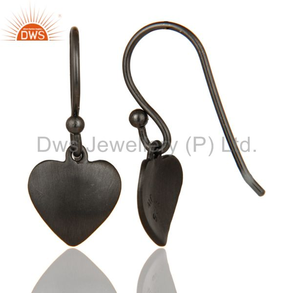 Designers Heart Design Black Rhodium Plated Sterling Silver Handmade Earrings