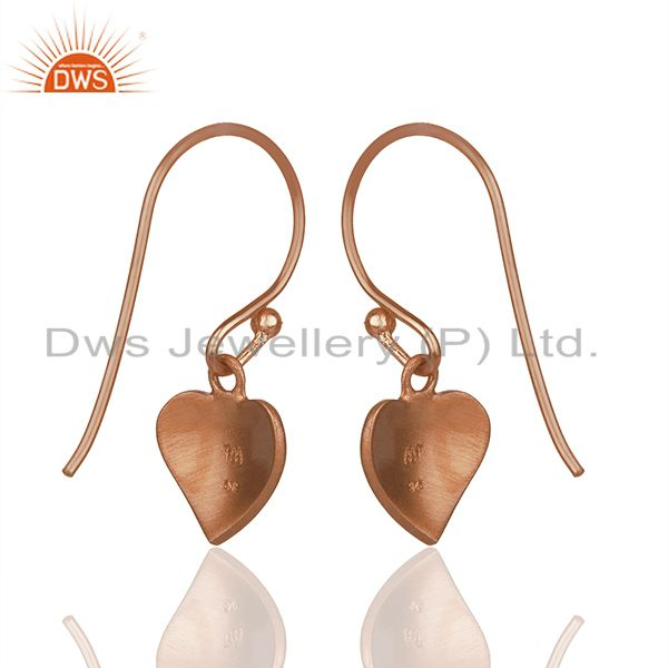 Suppliers Heart Design Rose Gold Plated 925 Silver Girls Earrings Wholesale