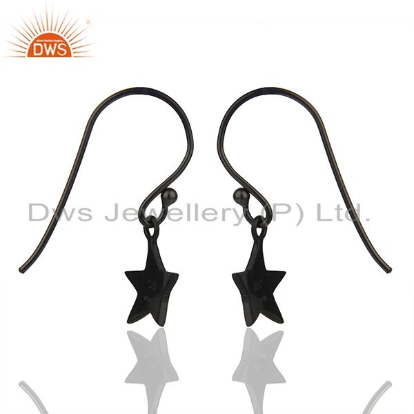Suppliers Sterling Silver Black Rhodium Plated Star Charm Earrings Manufacturer