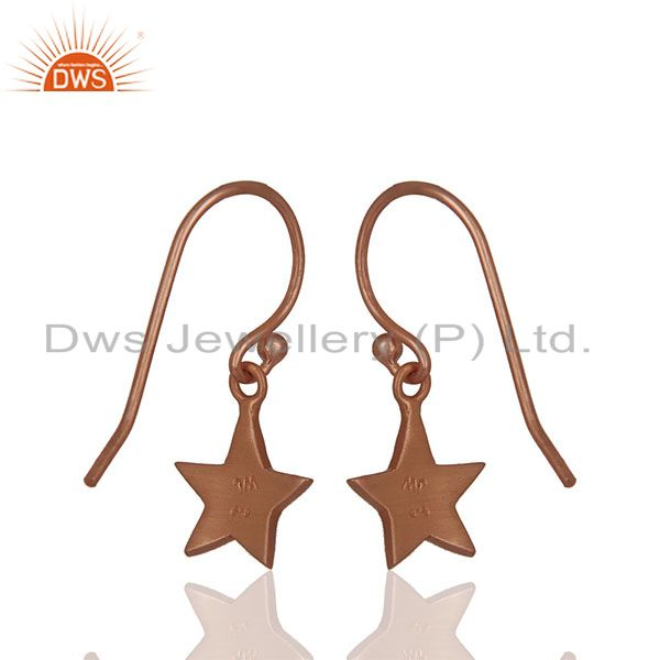 Suppliers Solid Plain 92.5 Silver Rose Gold Plated Star Charm Earrings Jewelry