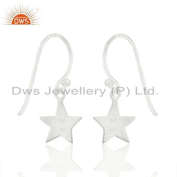 Suppliers Handmade 925 Sterling Silver Star Charm Girls Drop Earrings Wholesale