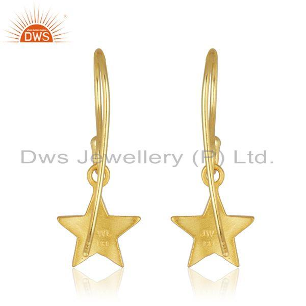 Suppliers 18K Yellow Gold Plated Sterling Silver Star Design Dangle Earrings For Women