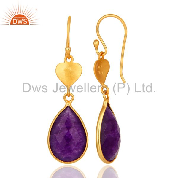 Designers Gold Plated Sterling Silver Aventurine Amethyst Bezel-Set Drop Earrings