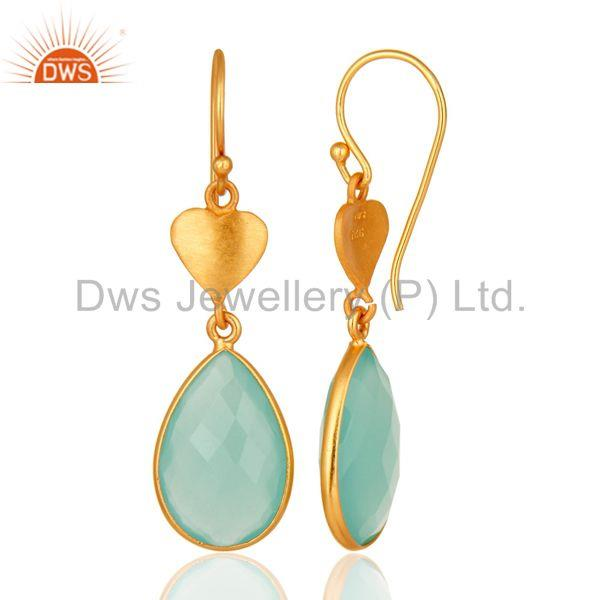 Designers Designer 925 Sterling Silver Dyed Aqua Blue Chalcedony Earrings - Gold Plated