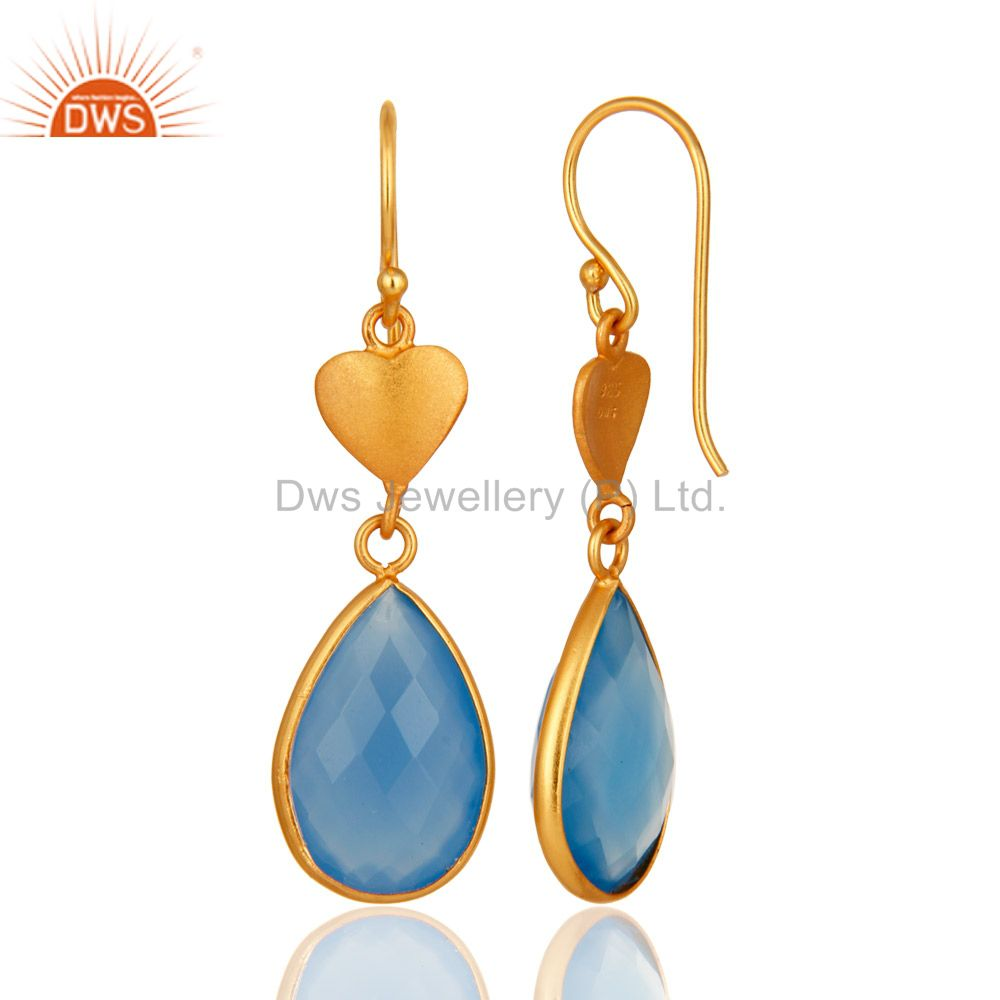 Designers Faceted Blue Chalcedony Gemstone Dangle Earrings In 18K Gold On Sterling Silver