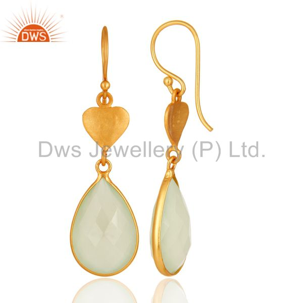 Designers Faceted Green Chalcedony Gemstone Sterling Silver Earrings With 18K Gold Plated