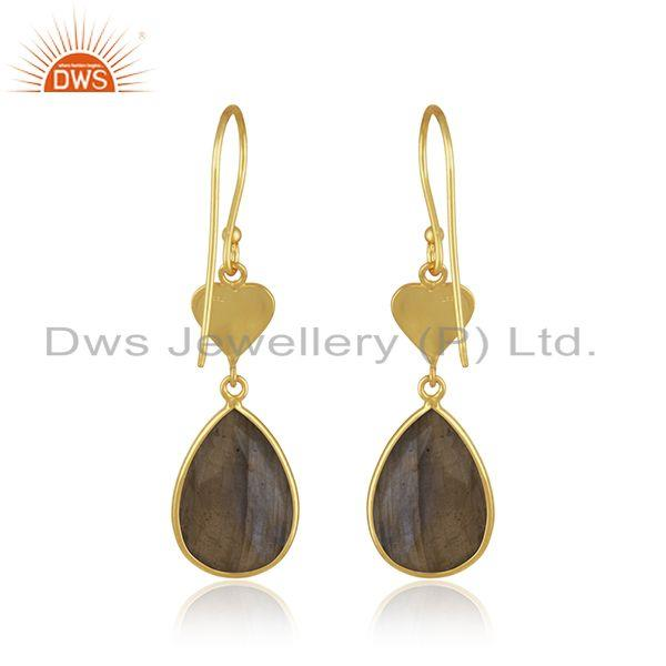 Suppliers 18k Yellow GOld Plated Heart Shape 925 Silver Labradorite Stone Earring Supplier