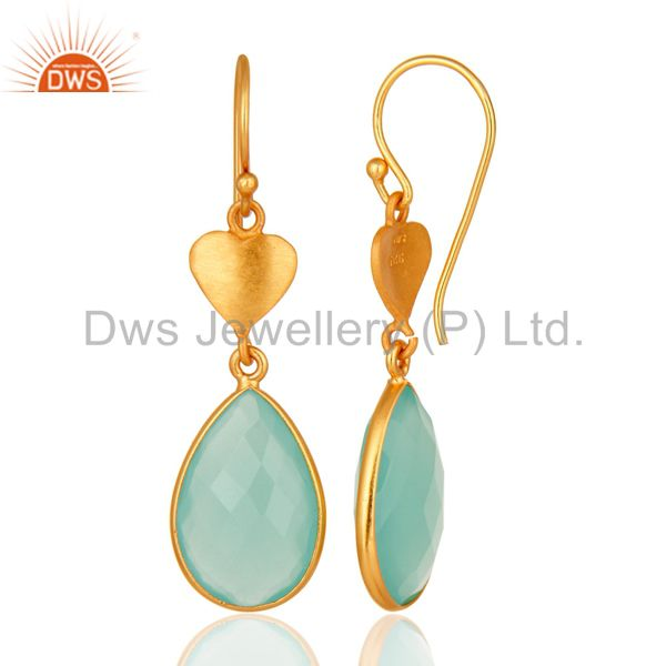 Suppliers Designer 925 Sterling Silver Dyed Aqua Blue Chalcedony Earrings - Gold Plated
