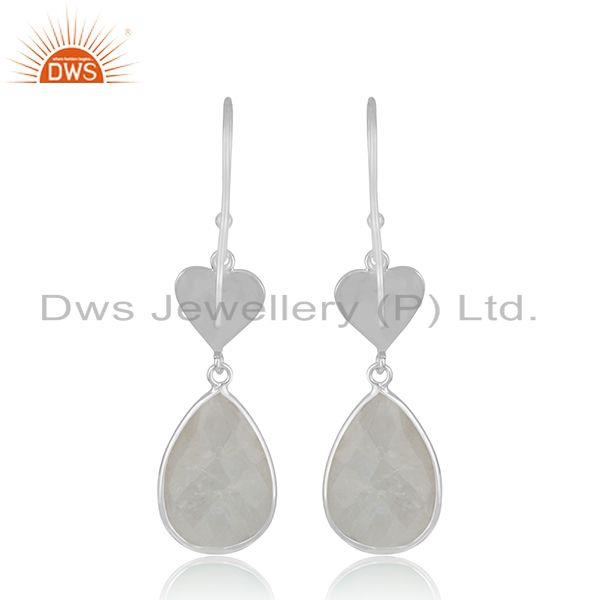 Suppliers Raibnow Moonstone Sterling SIlver Heart Earrings Jewelry Manufacturer India