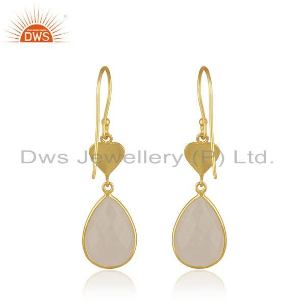 Suppliers Natural Rainbow Moonstone Gold Plated Heart Shape 925 Silver Earring Wholesaler