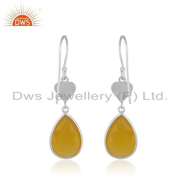 Suppliers Yellow Chalcedony Gemstone 925 Sterling Silver Heart Earring Manufacturer India