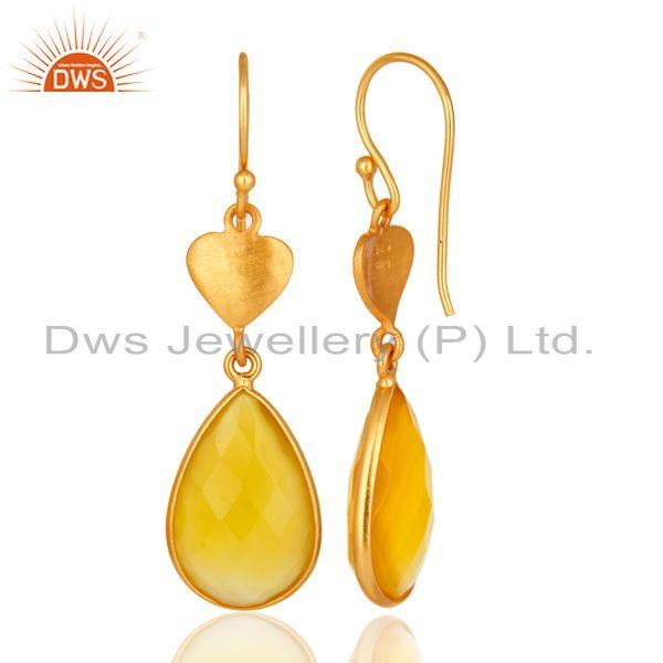 Designers 24K Gold On Silver Yellow Chalcedony Gemstone Beautiful Designer Dangle Earrings