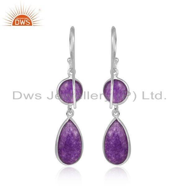 Designer of Aventurine gemstone womens 925 sterling fine silver earrings