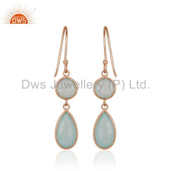 Suppliers Handmade Rose Gold Plated 925 Silver Aqua Chalcedony Gemstone Earring Wholesale