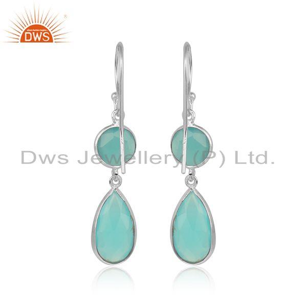 Designer of Sterling silver designer aqua chalcedony gemstone hook earrings