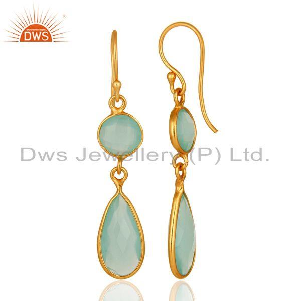 Designers 18K Yellow Gold Plated Sterling Silver Handmade Dyed Chalcedony Dangle Earrings