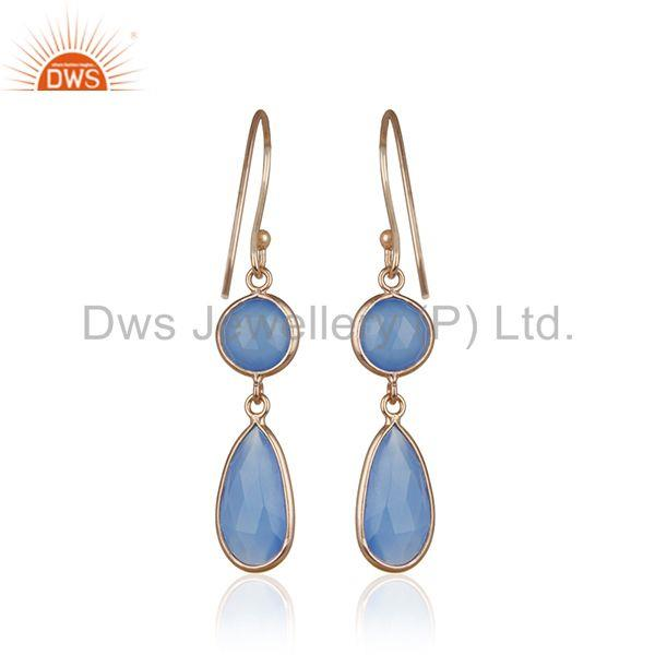Suppliers Blue Chalcedony Gemstone Rose Gold Plated 925 Silver Earring Manufacturers