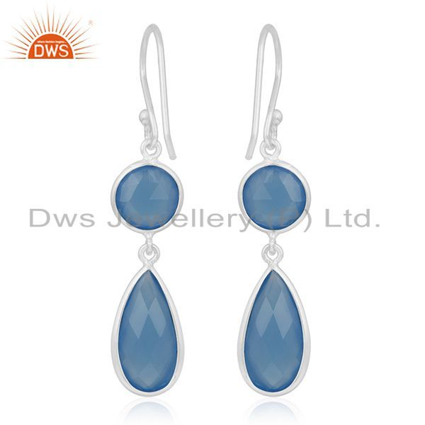 Suppliers Blue Chalcedony Gemstone 925 Silver Dangle Earring Manufacturer