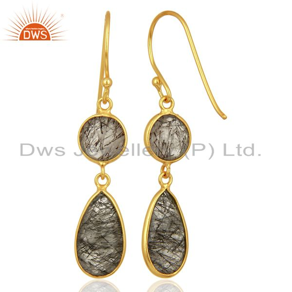 Suppliers Black Rutile Dangle 14K Gold Plated 925 Sterling Silver Earrings Jewelry