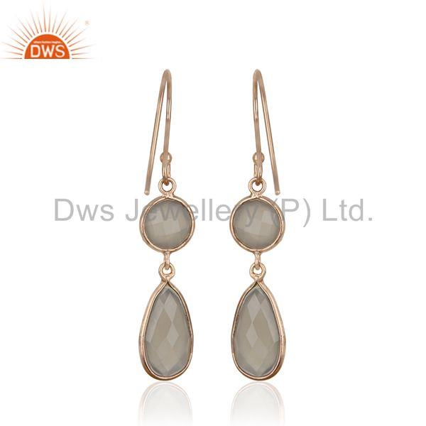 Suppliers Grey Chalcedony Gemstone 925 Silver Rose Gold Plated Handmade Earrings Supplier