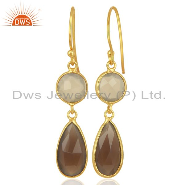Suppliers Gray Chalcedony Dangle 14K Gold Plated 925 Sterling Silver Earrings Jewelry