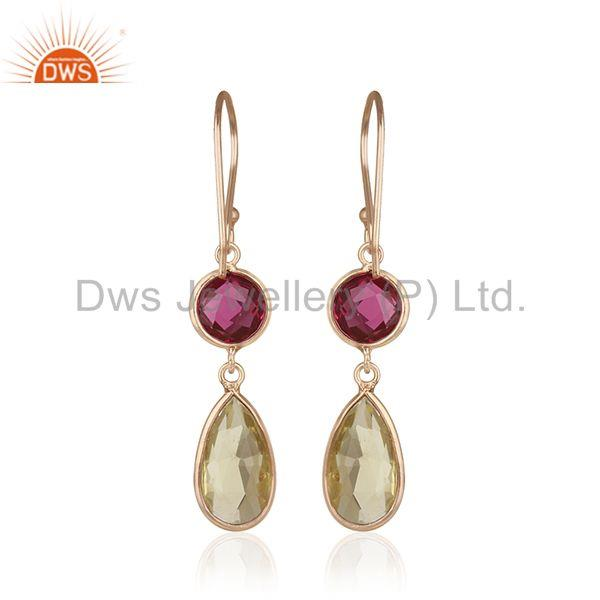 Suppliers Multi Gemstone Handmade 925 Silver Rose Gold Plated Dangle Earrings Manufacturer