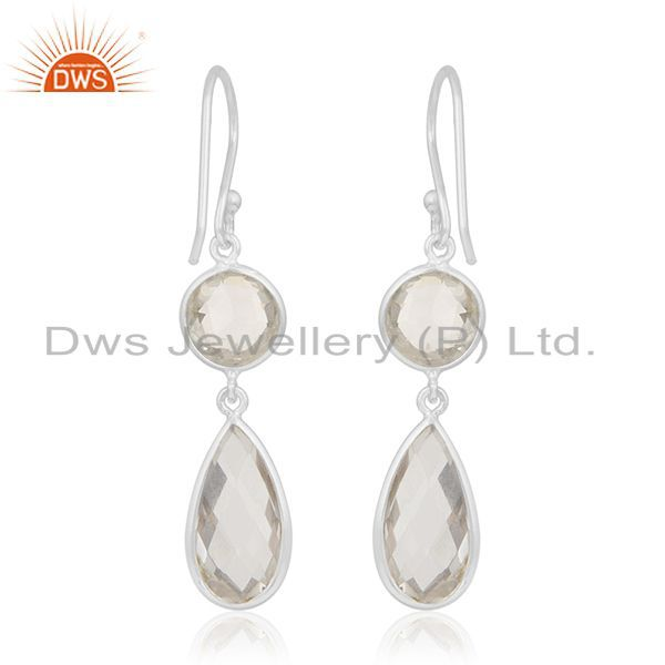 Suppliers Crystal Quartz 925 Sterling Silver Dangle Earring Manufacturer of Custom Jewelry
