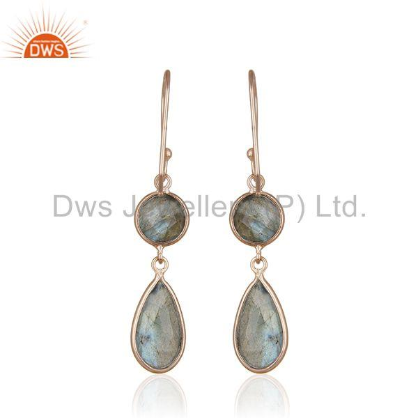 Suppliers Natural Labradorite Gemstone 925 Silver Rose Gold Earrings Manufacturer India