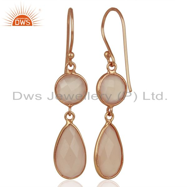 Suppliers Rose Chalcedony Round Teardrop Sterling Silver Rose Gold Plated Dangle Earring