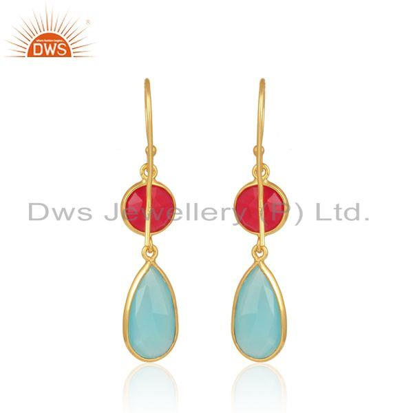 Designer of Pink, aqua chalcedony classic dangle in yellow gold on silver 925