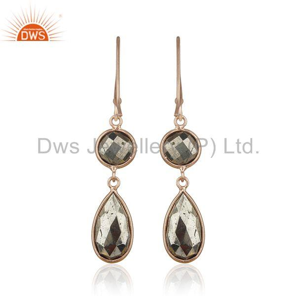 Suppliers Pyrite Gemstone Rose Gold 925 Silver Custom Earring Manufacturer India