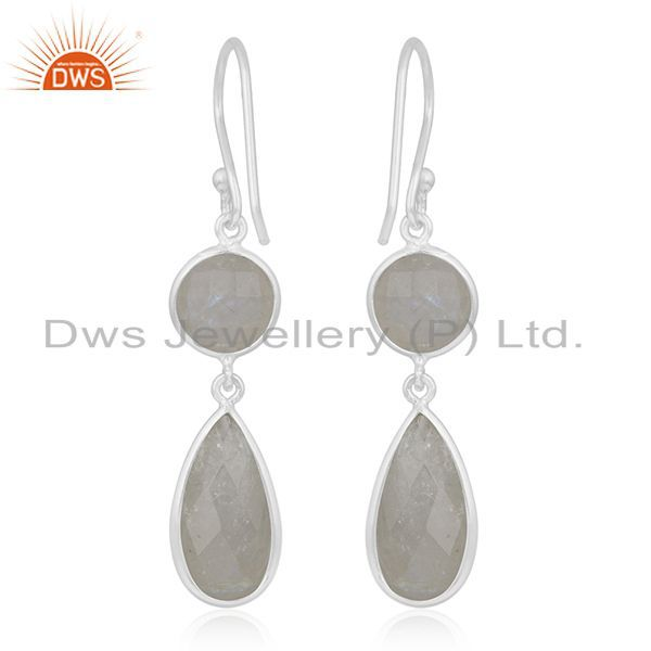 Suppliers Rainbow Moonstone 925 Sterling Silver Earring Wholesale Supplier from India