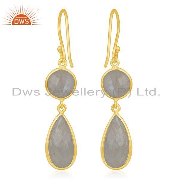 Suppliers 925 Silver Gold Plated Rainbow Moonstone Earring Wholesale Supplier
