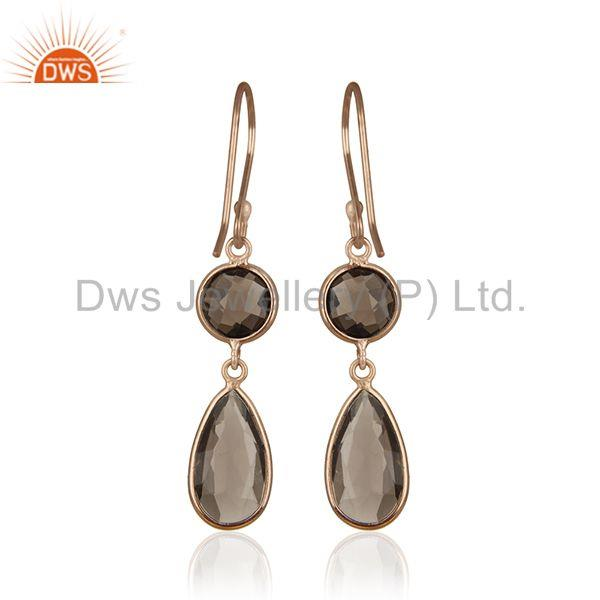 Suppliers Smoky Quartz Gemstone Rose Gold Sterling Silver Customized Earring Manufacturers