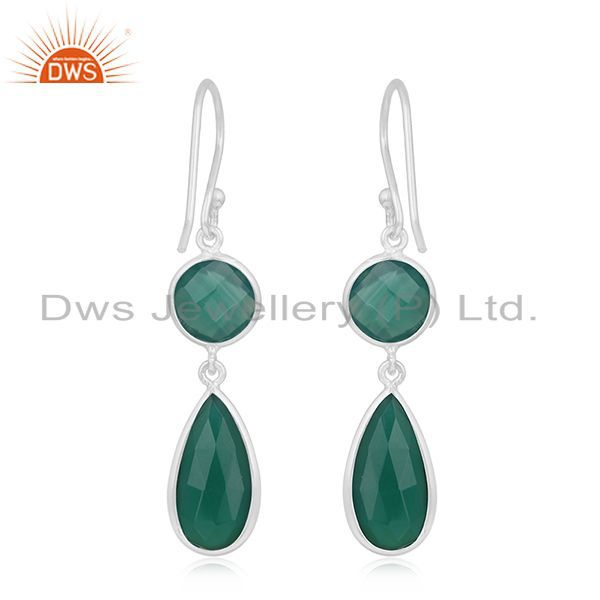 Suppliers Green Onyx Gemstone Handmade 925 Silver Girls Earrings Wholesale