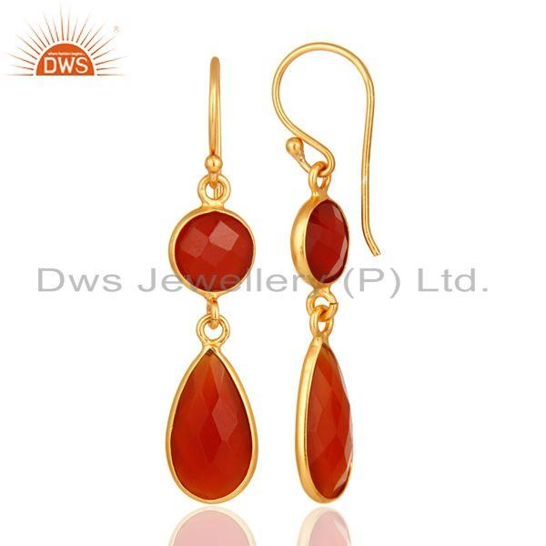 Designers 18K Gold Over Sterling Silver Faceted Red Onyx Gemstone Bezel-Set Drop Earrings