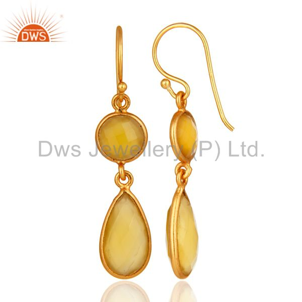 Yellow Chalcedony earring Gemstone Jewelry