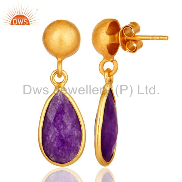 Designers Purple Chalcedony Sterling Silver Drop Earrings With Yellow Gold Plated