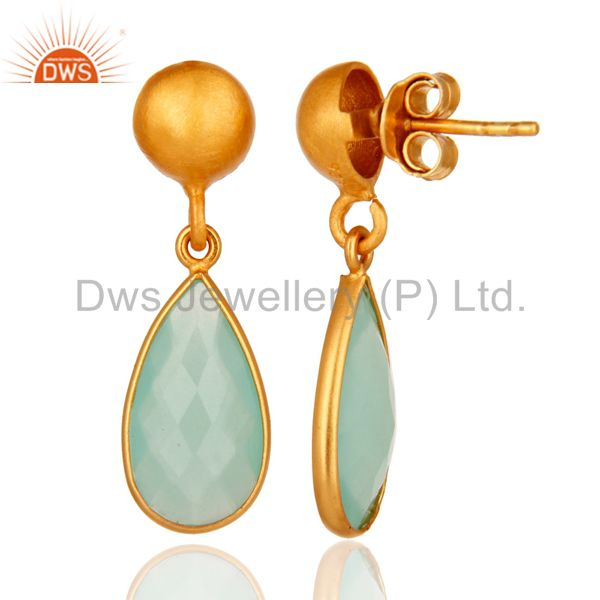 Designers Faceted Blue Chalcedony Gemstone Gold Plated Sterling Silver Drop Earrings