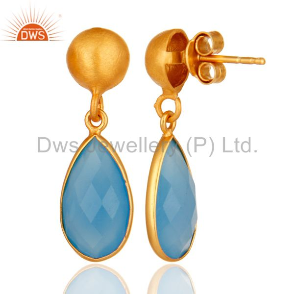 Designers 18K Gold Plated Sterling Silver Faceted Blue Chalcedony Gemstone Drop Earrings