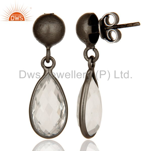 Designers Oxidized Solid Sterling Silver Crystal Quartz Gemstone Bezel Set Drop Earrings