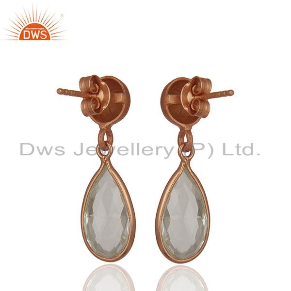 Suppliers Handmade Rose Gold Plated 925 Silver Crystal Earring Jewelry Wholesale