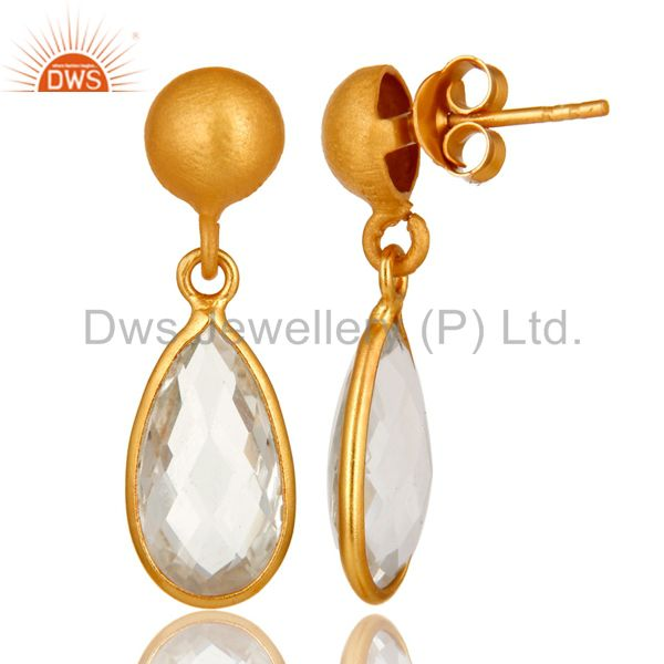 Designers 14K Yellow Gold Plated Sterling Silver Crystal Quartz Bezel Set Teardrop Earring