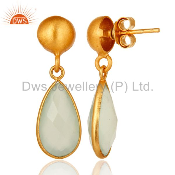 Designers Gold Plated Sterling Silver Faceted Green Chalcedony Teardrop Bezel Set Earring