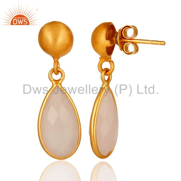 Designers Faceted Dyed Rose Chalcedony Gemstone 24K Gold Plated Sterling Silver Earrings